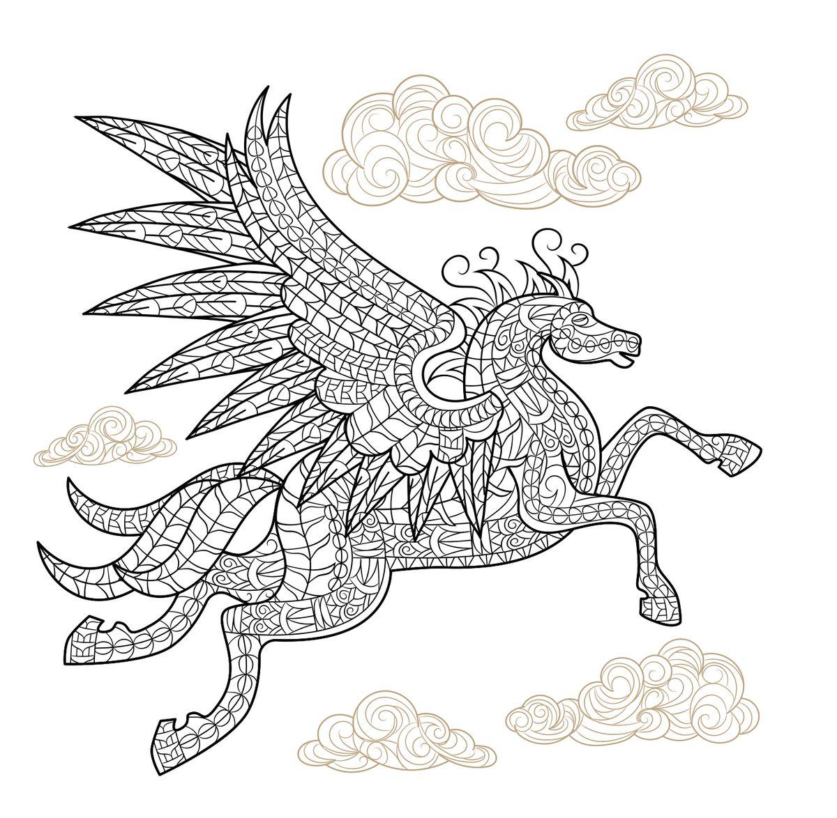 Pegasus winged horse adult coloring page ЛошадьКоньОлень
