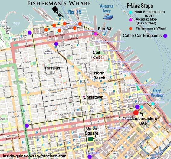 bart to pier 33 map alcatraz fishermans wharf san francisco
