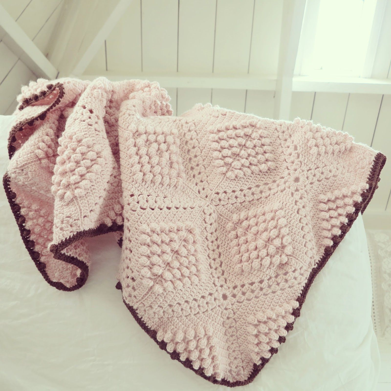 Knit Popcorn Stitch Baby Blanket : ByHaafner, crochet, popcorn, bobble stitch throw, blanket, powder pink, patte...