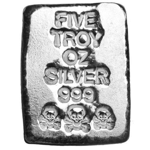 5 oz Atlantis Mint Hand Poured .999 Silver Skull NEW