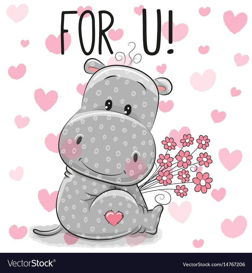 Valentine Card Cute Cartoon Hippo With Flowers Vector Image Cartoon Hippo Cute Cartoon Cute Hippo