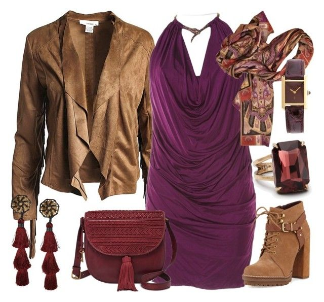 Al Azif by glirendree on Polyvore featuring moda, Roberto Cavalli, Sans Souci, BCBGeneration, FOSSIL, Cartier, Dsquared2, Ann Taylor and Etro