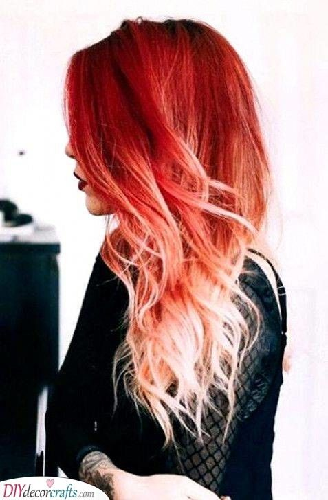 Vibrant Red Long Hairstyles For Women Red Ombre Hair Ombre Hair Blonde Fire Ombre Hair