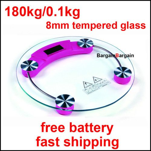 Round digital electronic glass body bathroom gym weight scales 180kg pink = $17