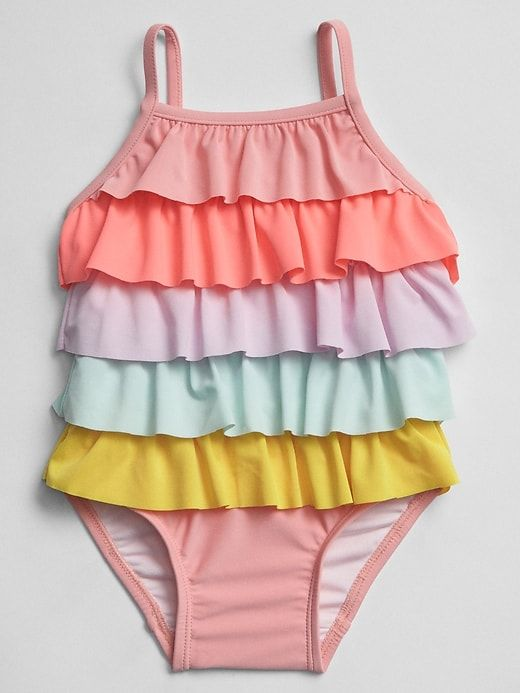bbbeb1e16e3c4c Gap Baby Rainbow Ruffle Swim One-Piece Multi | Products | Baby girl ...