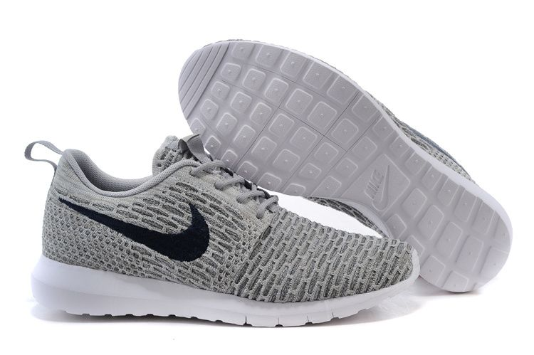 Mens Nike Flyknit Rosherun Gray Shoes