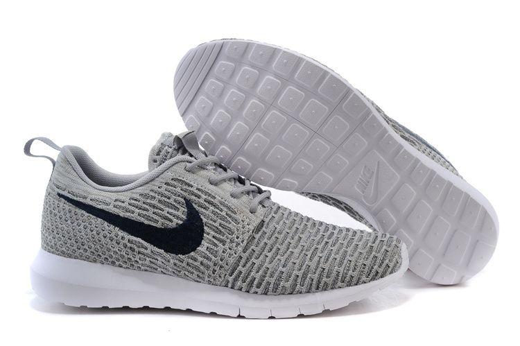 Mens Nike Flyknit Rosherun Gray Shoes