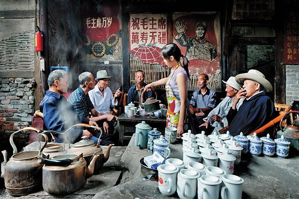 In China Tradition Brews In Tea Cups Chinese Tea House Chinese Tea Tea House