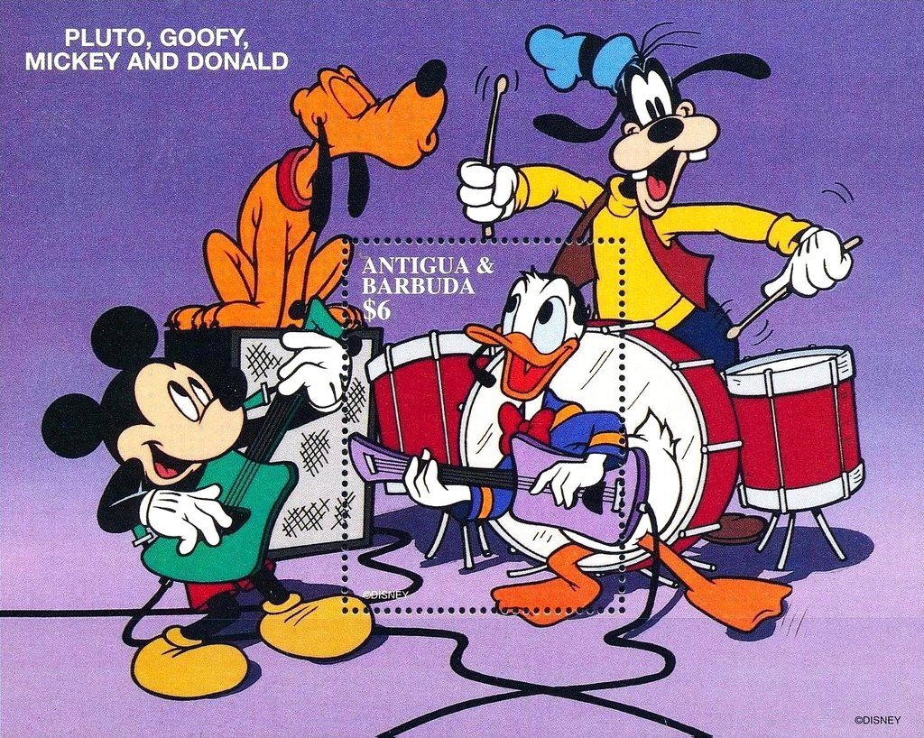 Francobollo Pluto Goofy Mickey And Donald Antigua E Barbuda
