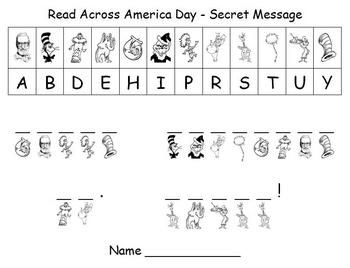 celebrate read across america day and dr seuss 39 birthday with this secret message puzzle using. Black Bedroom Furniture Sets. Home Design Ideas