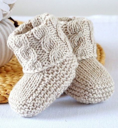 Knitting pattern for Baby Cable Booties - Baby Booties with Aran Cable Cuffs with double turn-down cuffs for comfort, luxury and security - difficult to kick off! 2 sizes - 0-6 months and 6-12 months. Designed by matildasmeadow #outfitswithhats
