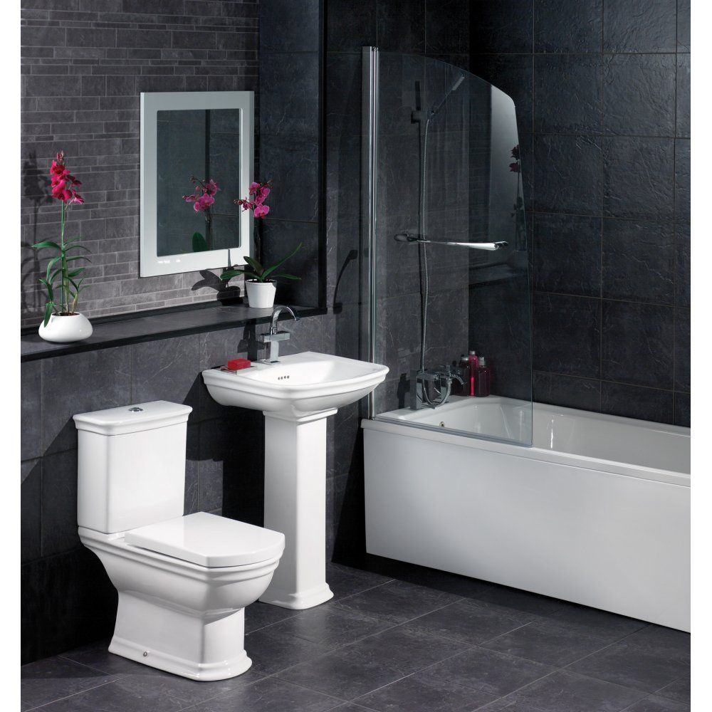 Black and white bathroom design inspirational black tile for Pictures of new bathrooms
