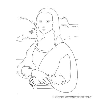 La Joconde Léonard De Vinci Art искусство рисование лепка Mona Coloring Page