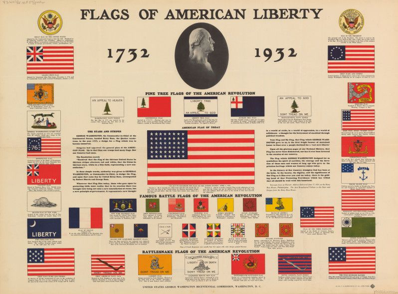 Flags of american liberty 1732 1932 poster 1931 u s for The american flag history