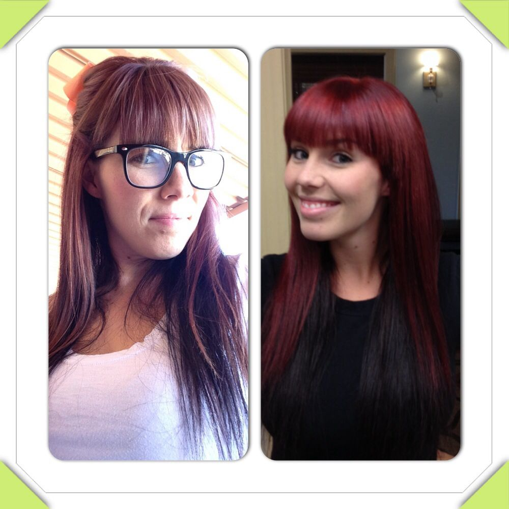 From Blahh To Vibrant Red Used Matrix Socolor Hilift Rr And Rv With Red Booster From Kenra And 20v Hair Inspiration Color Hair Color Formulas Hair Beauty