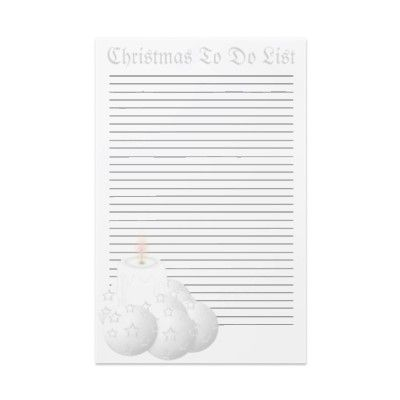 White Christmas To Do List Template Stationery Personalized - christmas to do list template