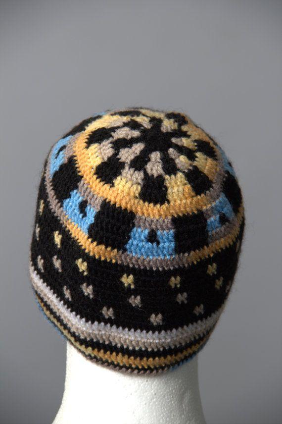 Black Mens hat, Solid Short Beanie Cap, crochet winter skullcap ...