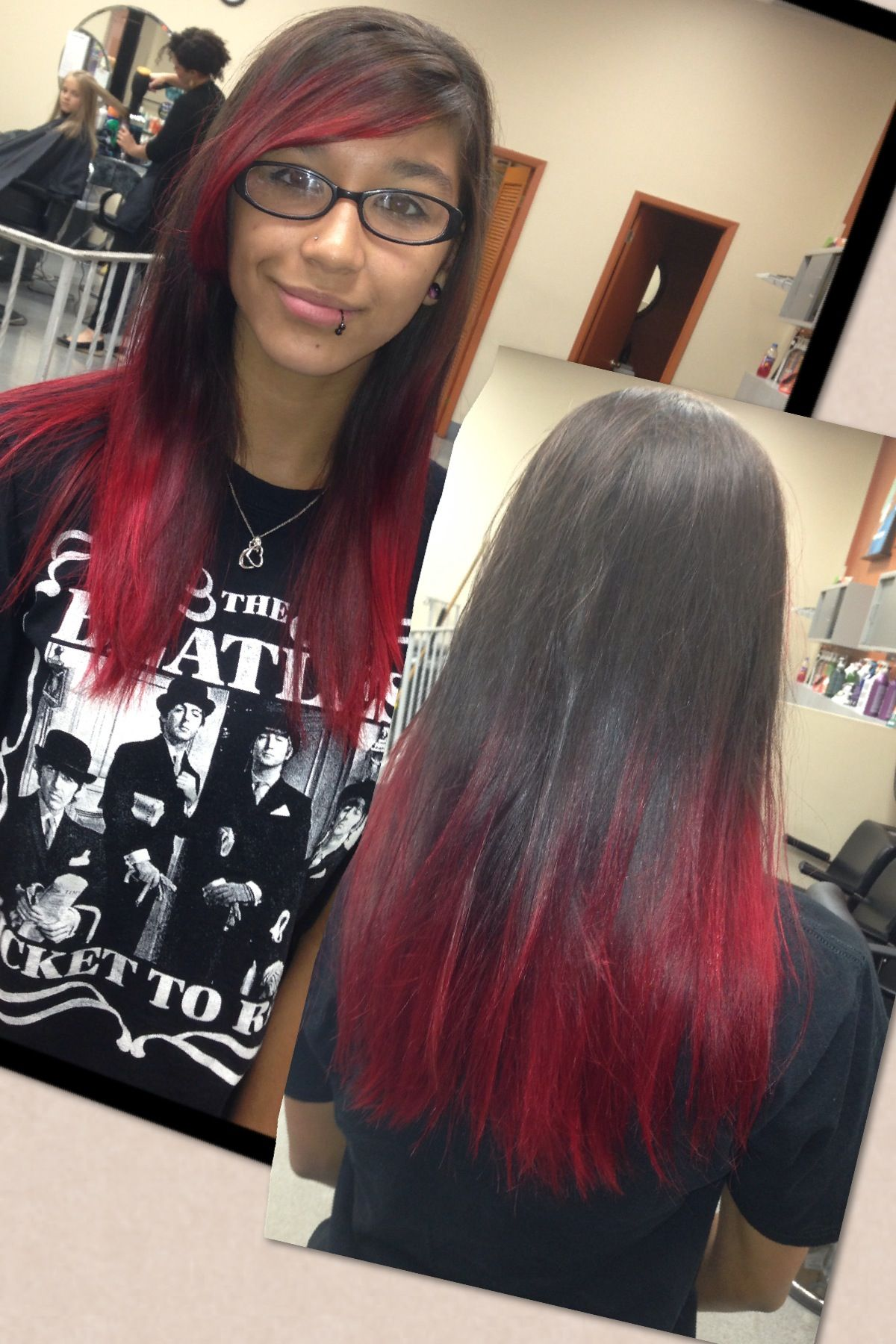 Red Dip Dye Hair Inspiration Color Perfect Hair Color Dyed Blonde Hair