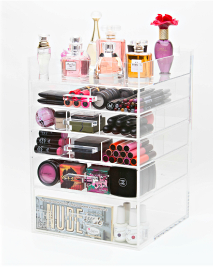 Acrylic Cosmetic Makeup Organizer 6 Tier Tall With Acrylic Handle