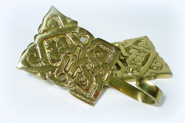 Celtic pattern brass hooks set curtain tie hooks coat hooks vintage