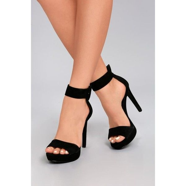 f656c543b98 Steve Madden Circuit Black Suede Leather Ankle Strap Heels ($99 ...