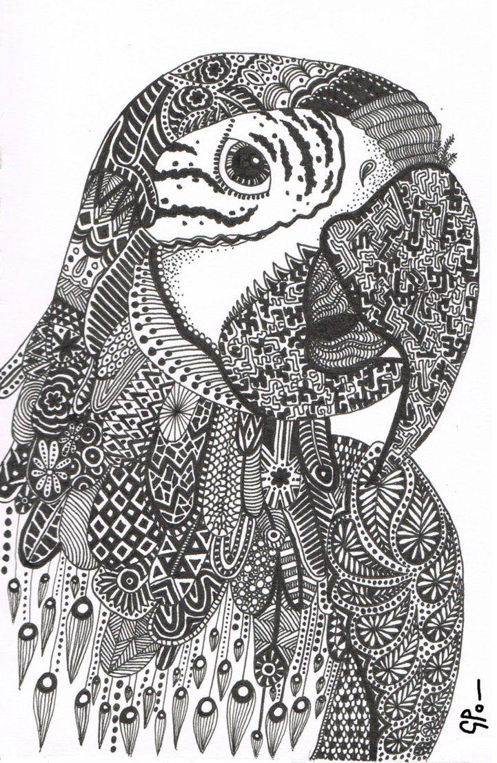 Parrot Abstract Doodle Zentangle ZenDoodle Paisley ...