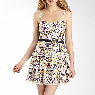 Floral Print Tiered Dress with Lace Ribbon - jcpenney