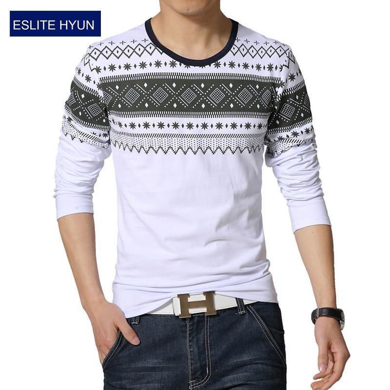 0a41202046c 2017 New fashion casual floral high quality cotton t-shirt geometric long  sleeved t shirt o neck T-shirt print t shirt men