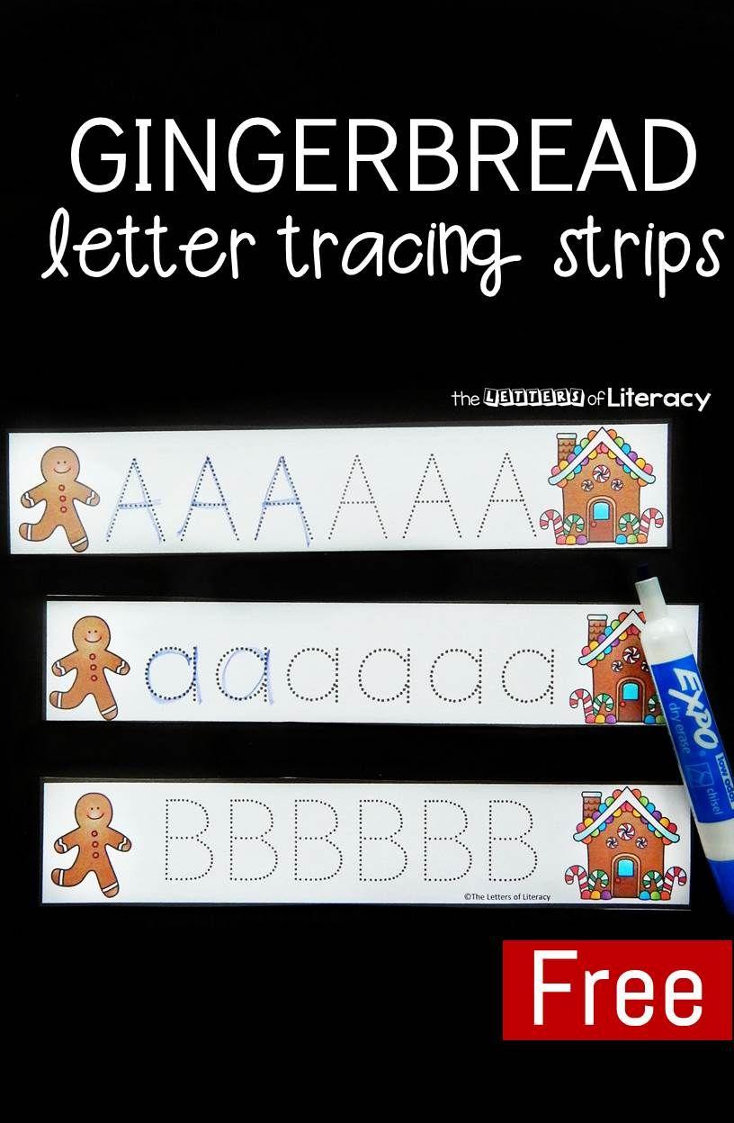 Gingerbread Letter Tracing Strips Christmas Kindergarten Alphabet Activities Preschool Christmas [ 1248 x 816 Pixel ]