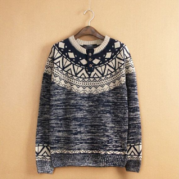 Geometric Sweater - Fair Isle Pattern Jumper Sweater - Mens Irish ...