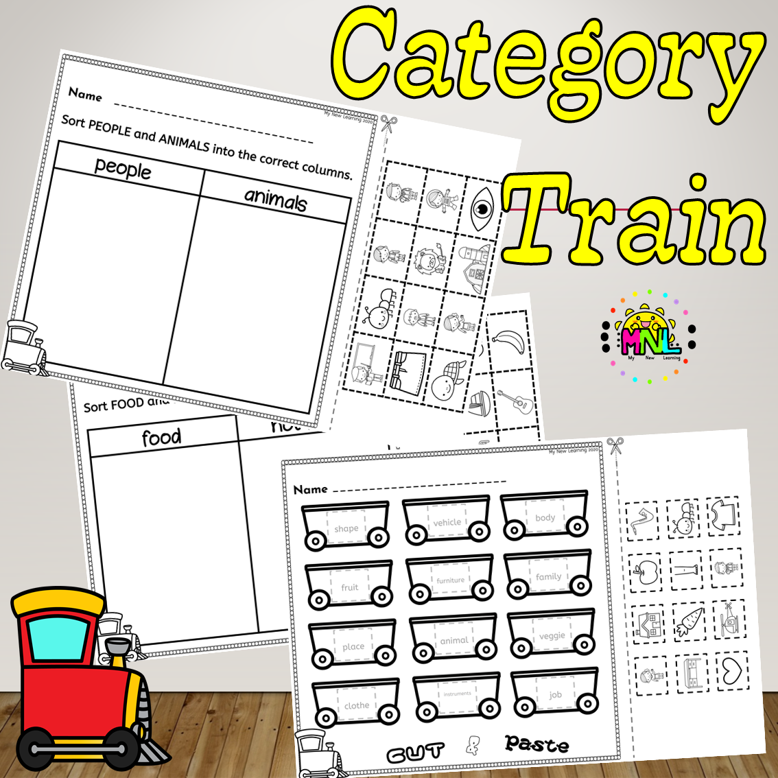Category Train Sorting Activity