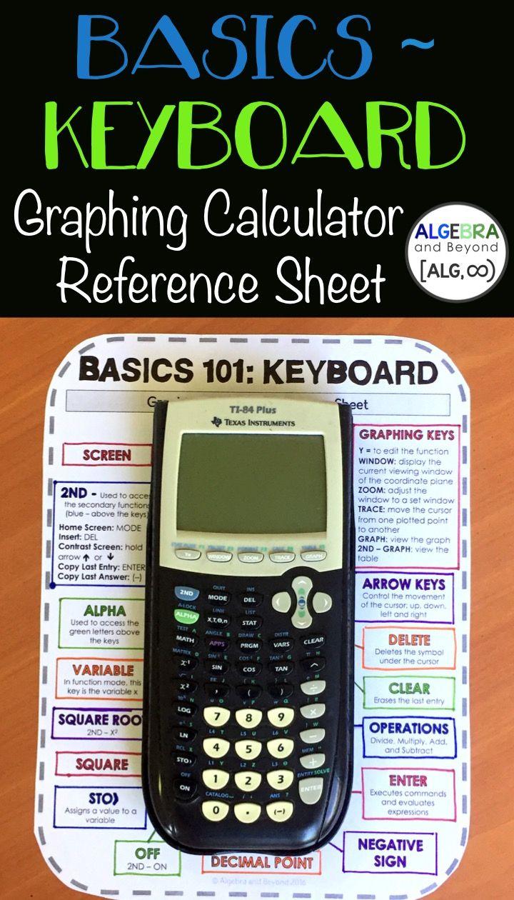 Graphing Calculator Reference Sheet Basics 101 Keyboard Great