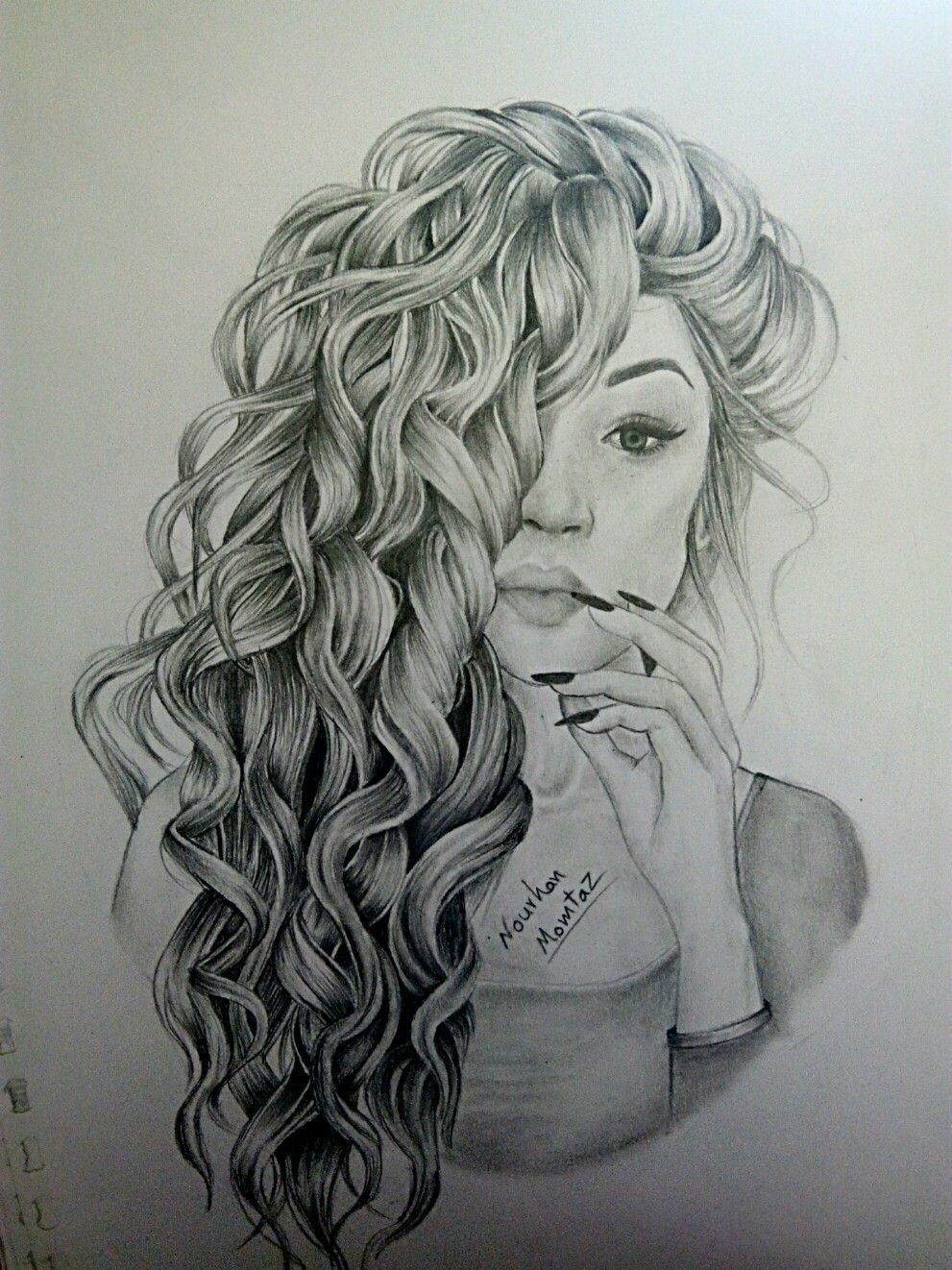 Drawing Curlyhair Art Sketch Pencildrawing Girl Portrait Magdalena Lena Drawing Curlyhair Art In 2020 How To Draw Hair Pencil Drawings Of Girls Curly Hair Drawing
