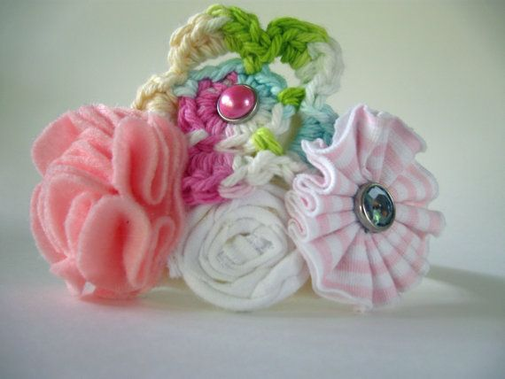 Handmade Pink & White Floral Headband by atticusandcole on Etsy, $8.00