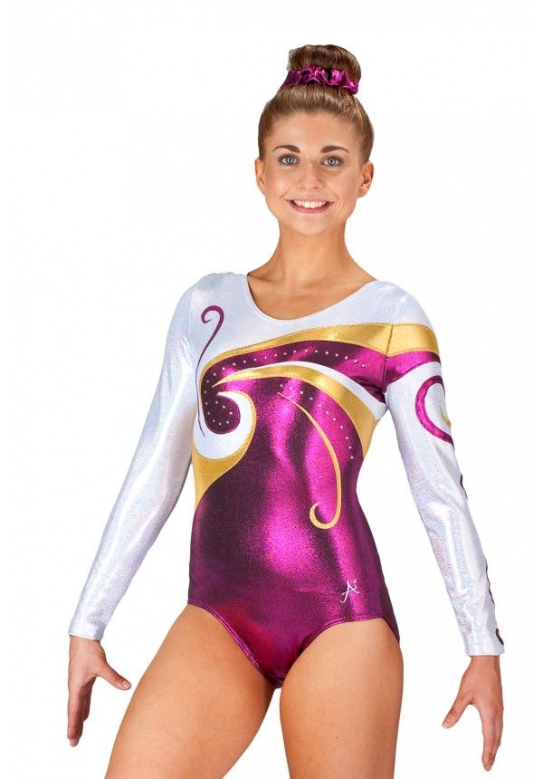 Long Sleeved Pink, Gold And Silver Gymnastics Leotard ...