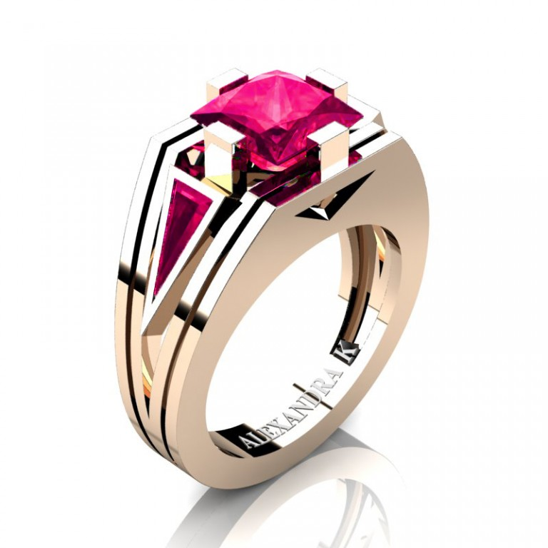 Mens Modern 14K Rose Gold 4.0 Ct Princess and Triangle