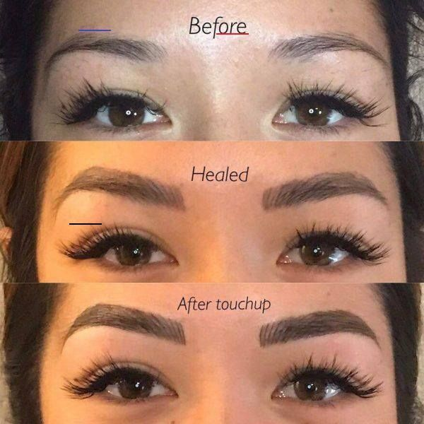 Microblading shading before and after 6 weeks after ...