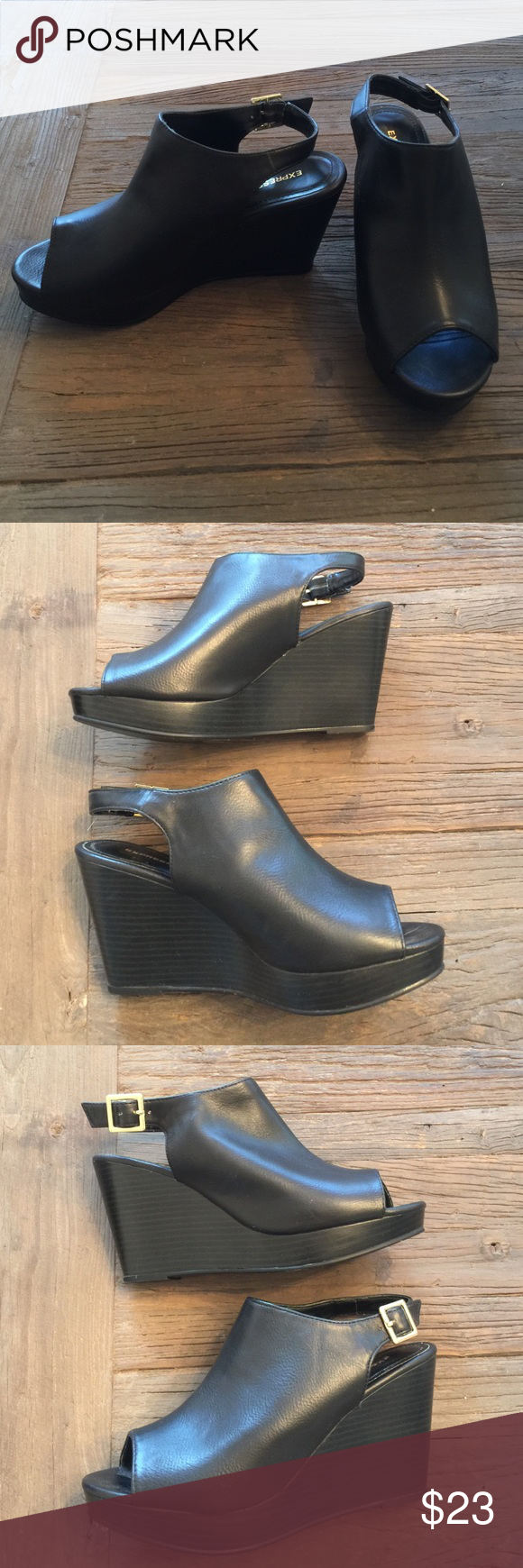 EXPRESS bootie wedges EUC -worn about 5 times. Very comfortable wedge heel. Faux black leather uppers. Sling back style. ❌no trades or paypal❌ Express Shoes