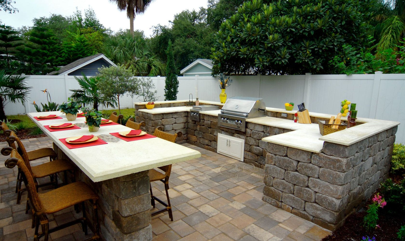 Tumbled Keystone Stonegate Wall Block Outdoor Kitchen Shell With Granite Countertop We Used The Tre Outdoor Kitchen Outdoor Kitchen Countertops Yard Crashers