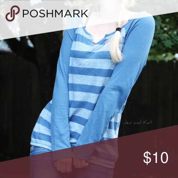 """Champion ✧ cozy blue striped long-sleeved top Cute and cozy Champion shirt, striped with two lovely shades of blue. Gently worn. 26"""" long, size medium, 62% cotton / 38% polyester, no marks/tears/stains.  All photos are of the actual top. Ships within one business day! ♡ Champion Tops Tees - Long Sleeve"""