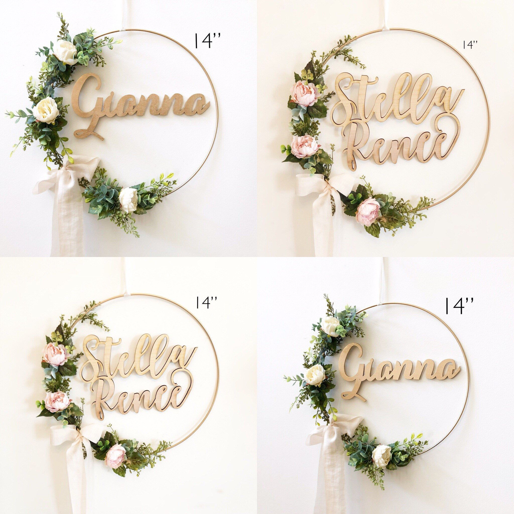 wreath hoop shower nursery floral blush etsy