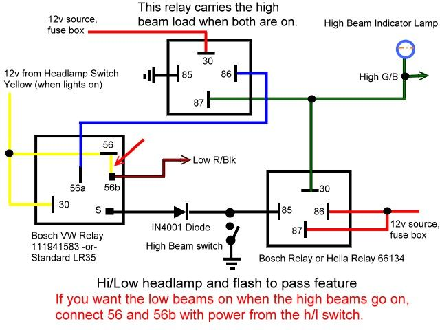 High And Low Beam Headlight Relay Wiring For