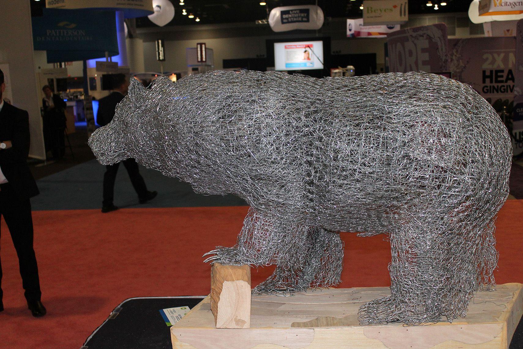 Chicken wire Spirit Bear sculpture by Scott Gillies. 4\'6\