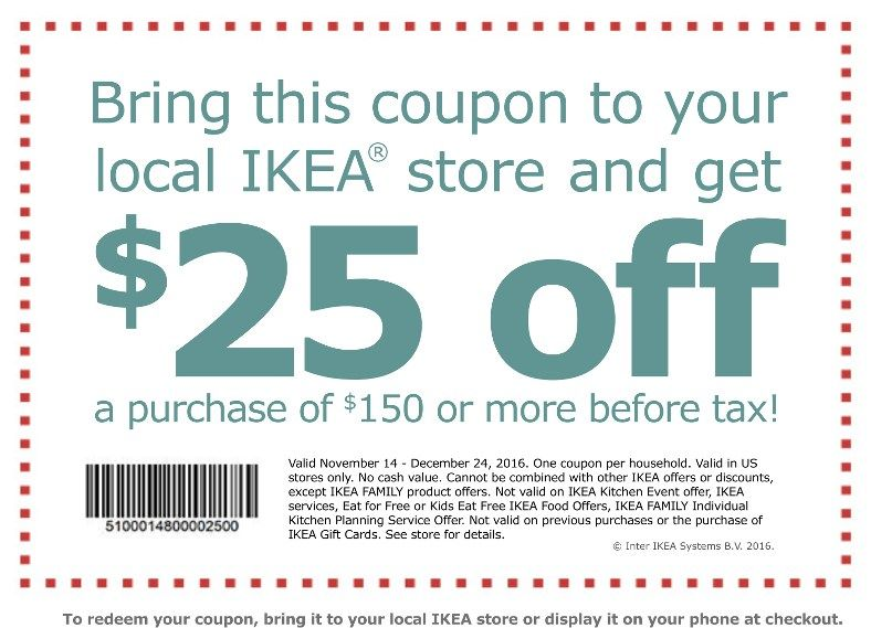 graphic relating to Ikea Printable Coupon known as $25 Ikea Printable Coupon Choose it Already! Superior Via 12/14