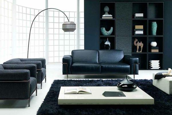 schwarzer-Teppich-weiße-Möbel-Wohnzimmer interior design