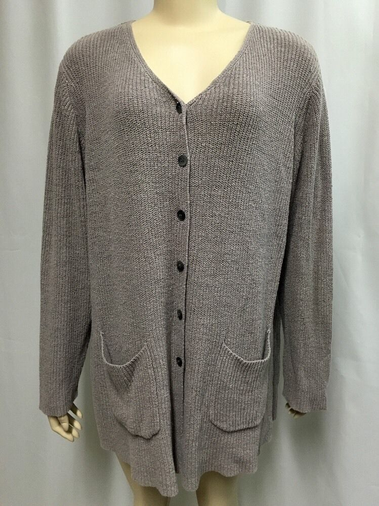 J. Jill Cardigan Sweater XL Oversized Light Purple Linen Cotton ...