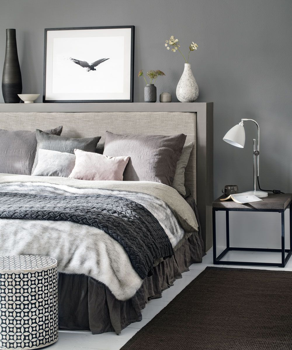 Pin By Nellya Shilo On Master Bedroom Home With Images Grey Bedroom Design Grey Bedroom With Pop Of Color Bed Linens Luxury