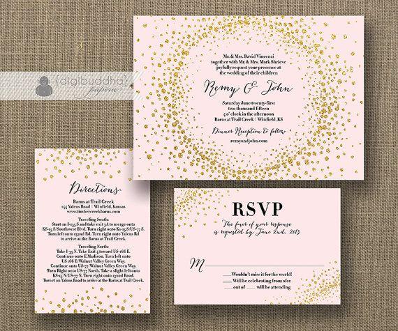 blush pink & gold glitter wedding invitation rsvp info card 3, Wedding invitations