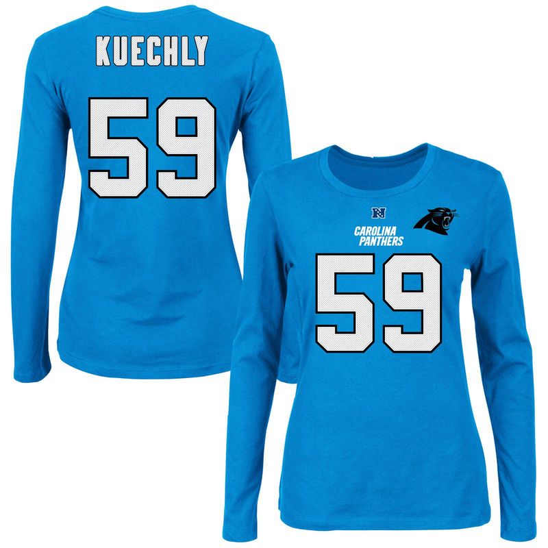 Luke Kuechly Carolina Panthers Majestic Women s Fair Catch V Name   Number  Long Sleeve T-Shirt – Carolina Blue 5deed8e42