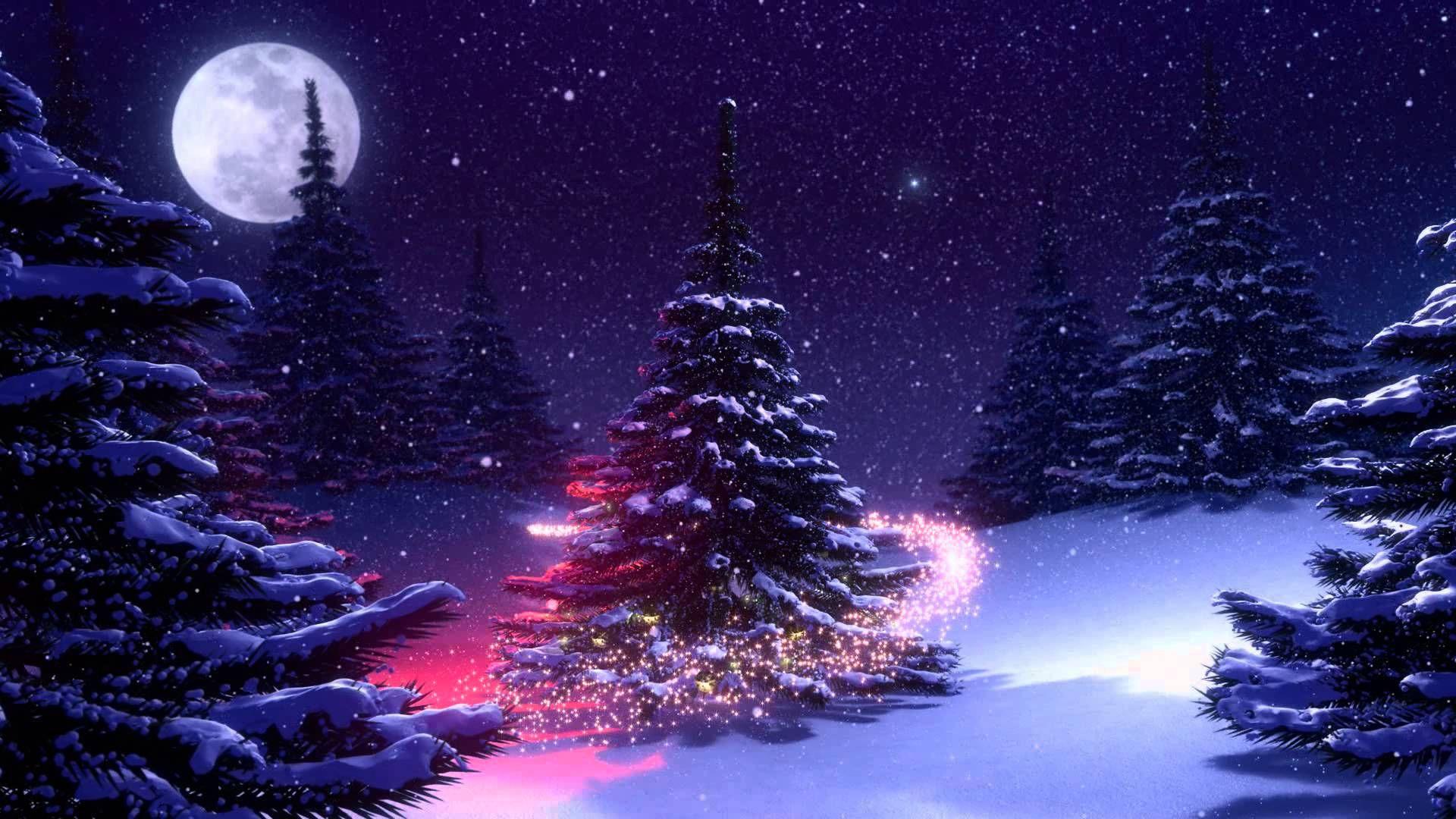 Fondo De Pantalla 3d De Navidad De Santa Vas De Luna Hd: Fondos Animados Árbol De Navidad Nieve Full HD Animated